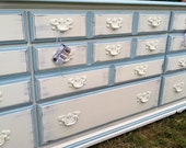 Shabby Chic/Cottage Chic 9 Drawer Dresser Painted in Old White and Blue