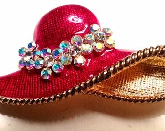 SIGNED Vintage Eisenberg Ice Red Enamel Hat Borealis Rhinestones Pin / Brooch