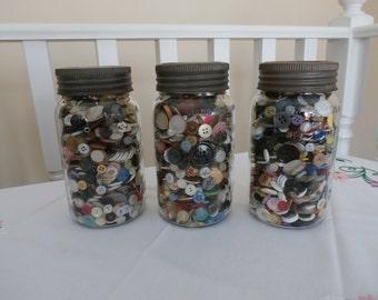 Vintage, Crown Jars, Filled with Vintage Buttons