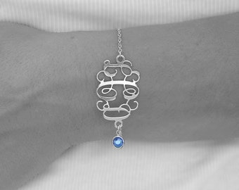Sapphire bracelets Initial Monogram Bracelet 1.2 inch with Birthstone - Personalized Monogram - Sterling Silver - 3 letters, any birthstone
