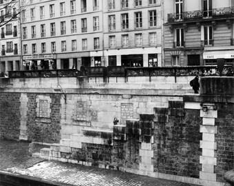 Paris Photography, Paris Black and White, Paris Stairs to the Seine, Seine River Photography, Black and White Decor, Fine Art Photography