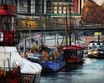 Art,Photography,Boats of Paris France,Wall Art,Paris Photography,Paris Print,Fine Art Prints,Paris Art,Paris Home Decor, Paris Photo