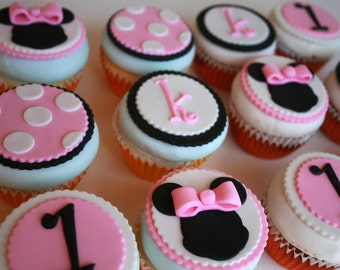 12 Minnie Mouse Inspired Edible Cupcake Toppers for birthdays and babyshowers