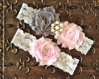 Wedding Garter, Wedding Garter Set- Blush Wedding Garter, Blush Gray Garter, Blush Garter Set, Pink Wedding Garter, Pink and Gray Garter