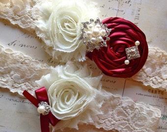 Cranberry Garter, Wedding Garter, Lace Garter, Cranberry Wedding Garter, Bridal Garter Set, Garter, Cranberry Garter Set, Garter Set