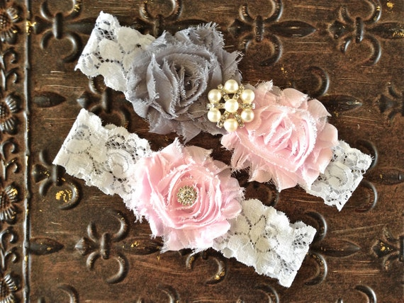 Blush Wedding Garter, Wedding Garter Set, Pink Gray Wedding Garter, Light Pink Garter, Gray Wedding Garter, Pink Garter, White Lace Garter