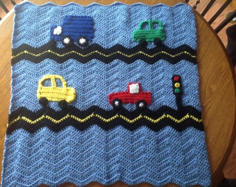 The Perfect Blue Boy Blanket - Crochet Baby Blanket with Cars, Road, Truck and Traffic Light