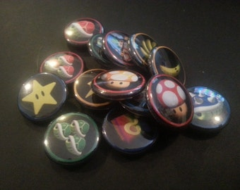 "1"" Mario Kart 64 Button Magnets, Set of 14"