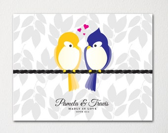 Love Birds Custom Wedding Art / Engagement Gift Decor / Just Married / Couples Art Print