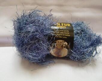 Lion Brand Fun Fur Prints Novelty Yarn Eyelash Blue Indigo  - Price is for 1 skein