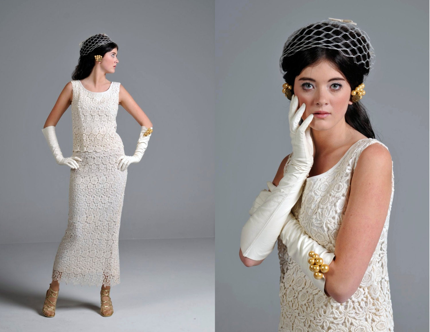Ivory Crepe Open Back Wedding Dress And Handmade: Vintage 50s Dress // 1950s Ivory Lace Column Gown // Small