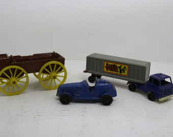 Vintage Lot of Tootsietoy Die Cast Cars - Keep on Truckin Semi Truck with Trailer, Blue Racer and The Western Covered Wagon