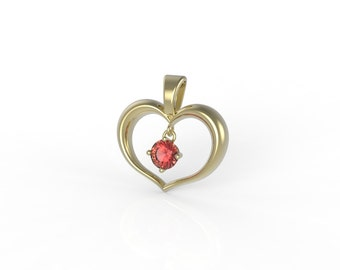 14ct Gold Heart,with Ruby