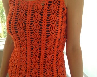 Hand knitted orange sleeveless sweater, spring top, summer vest