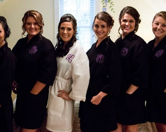 Bridesmaid Gift Bridesmaid Robes Monogram Robe Personalized Robe Waffle Robe Kimono Spa Robe Monogrammed Robe Personalized Bridesmaids Gift