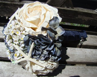 Nautical Bouquet, Starfish Bouquet . Nautical Wedding  Bouquet, Beach Bouquet,  Navy Blue, Starfish Wedding