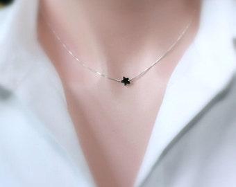 Tiny Black Onyx Star Pendant Sterling Silver Necklace, Black Star Pendant on Sterling Silver Necklace Chain