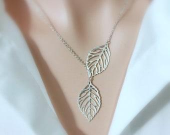 Matte Silver Leaf Lariat