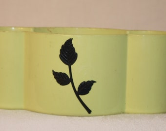 Lime green 60s or 50s plastic planter with dark green leaves, and inside drain tray by Quality Molding Co.