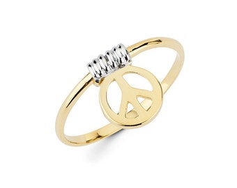 Peace, Peace Ring, Peace symbol, Peace Jewely, Gold Peace, dainty Jewelry, knuckle ring