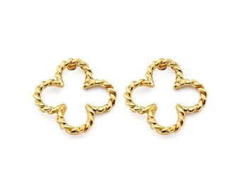 14K Solid Gold Clover Post Earrings, Clover Post Earrings, Clover Earrings, Gold Clover, Clover, Luck, Irish, Clover Design, Floral
