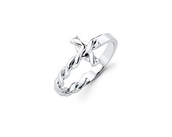 Sterling Silver Twisted Sideways Cross Ring, Twisted Sideways Cross, Sideways Cross, Cross, Religion, God, Jesus, Silver, Religious