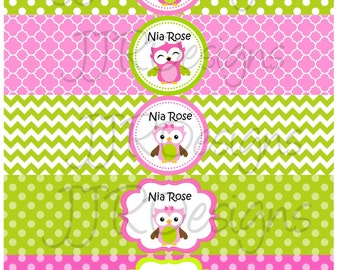 Printable-Owl Water Bottle Label- Pink and Green Owl Water Bottle- Owl Party