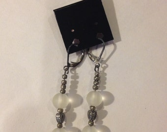 Frosted White and Silver Beaded Fish Hook Earrings