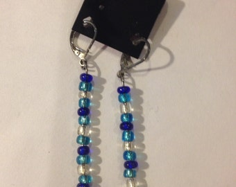 Turquise Clear Blue Beaded Fish Hook Earrings