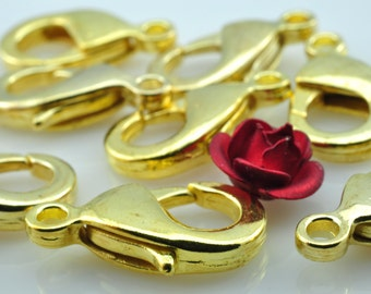 50 pcs of Gold plated brass lobster clasp in 8mm wideX 15mm length