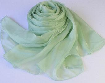 Mint Green Silk Scarf - Medium Sea Green Mulberry Silk Chiffon Scarf - AS21