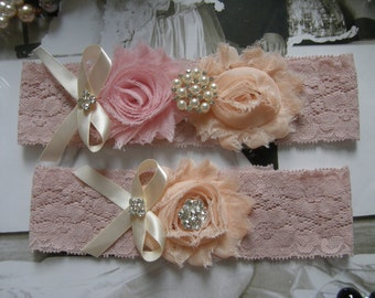 Garter / Blush / Wedding Garters / Bridal Garter / Toss Garter / Garter Set / Vintage Inspired Lace Garter