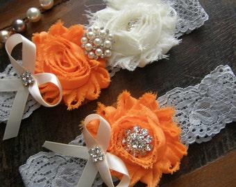 Garter / Wedding Garters / Orange / Ivory / Gray / Vintage Inspired Lace Garter / Crystal Rhinestone