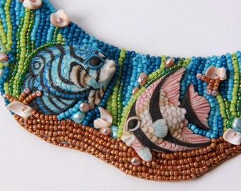 "A bead embroidered collar, ""TWOFISH"""