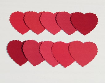 Set of  Red Scallop  Hearts die cuts /  card-stock paper/ size 2 3/4 inch