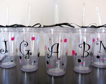 Personalized Tumber with Initial and Polka Dots