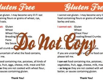 Gluten Free Restaurant Card