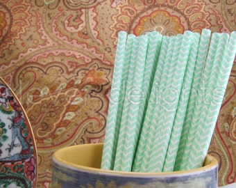 "100 Mint Chevron Paper Straws - 7 3/4"" - Eco-Friendly Biodegradable Paper Drinking Straws - Wedding Party Shower Reception Celebrations"