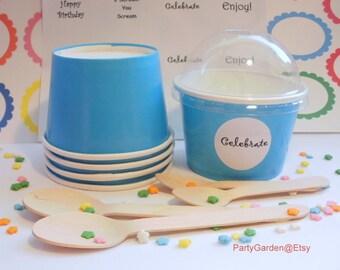25 Blue Ice Cream Cups - Small 8 oz