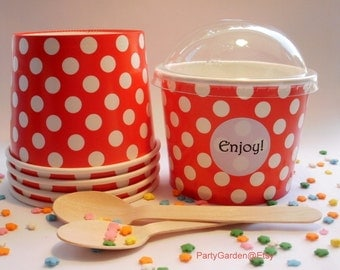50 Red Polka Dot Ice Cream Cups - Large 16 oz