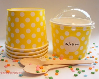 50 Yellow Polka Dot Ice Cream Cups - Large 16 oz
