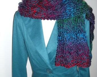 multicolored cable scarf (150, 20 cm)