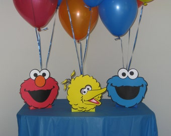 Sesame Street Centerpieces Balloon Holders Elmo, Cookie Monster & Big Bird