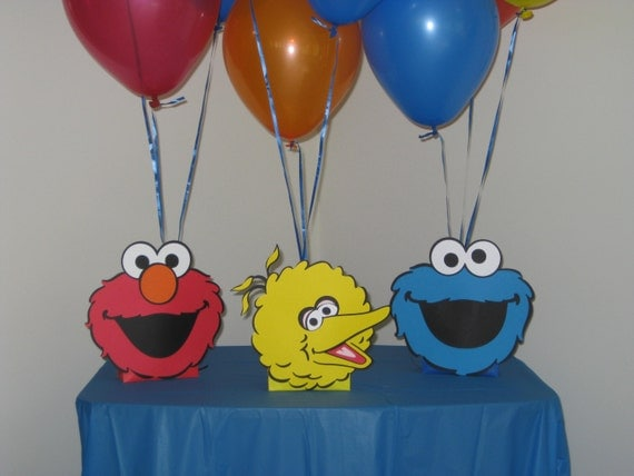 Sesame street centerpieces balloon holders elmo cookie