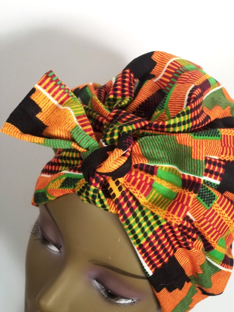 African Cotton Fashion Turban Orange Green Full By