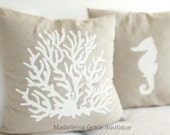Coral Linen Nautical Pillow Cover