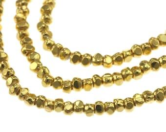 Gold vermeil Tiny Plain 3-Face Prism Spacer 1.3 mm - Karen Hill tribe silver