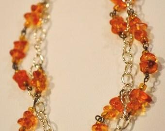 Beaded Bracelet - Amber and Glass Beads - Orange