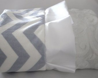 Baby Blue and White Chevron with Embossed Vine Minky on Reverse -  Baby Minky Blanket