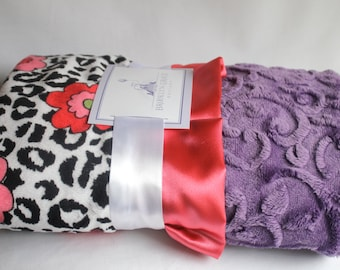 Lagoona Minky Cuddle Jaguar Black/White Blanket with Coral Satin Ruffle Trim - New Baby, Shower Gift - Girls - Baby